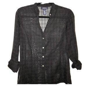 checkered button blouse